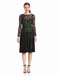 Isaac Mizrahi Women's Long Sleeve Lace Dress with Color Lining, Black/Green, 14