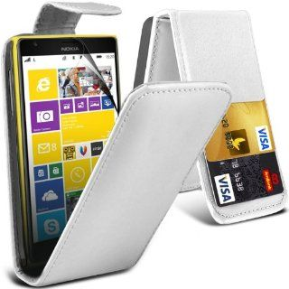 Onx3 Nokia Lumia 1520 Premium Pu Credit Card Slot White Leather Flip Case + Lcd Screen Protector Guard Cell Phones & Accessories