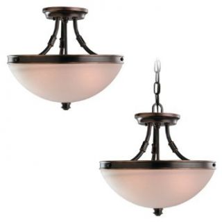 Sea Gull Lighting 77330 825 2 Light Warwick Semi Flush Convertible Fixture, Smoky Parchment Glass Shade and Vintage Bronze   Semi Flush Mount Ceiling Light Fixtures
