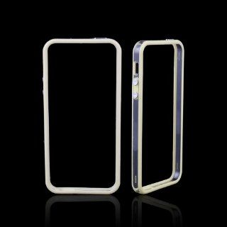 Ebest Beige TPU Bumper Frame Case Cover with Metal Buttons for Apple iPhone 5 5th Cell Phones & Accessories