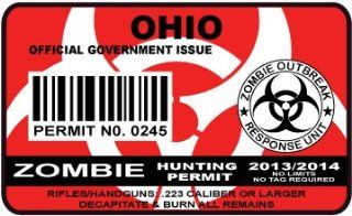 Ohio Zombie Hunting Permit Sticker Size 4.95x2.95 Inch (12.5x7.5cm) Cut Decal outbreak response team united states Automotive