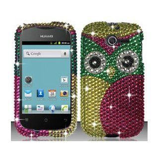 Huawei Ascend Y M866 (StraightTalk) Pink Owl Bling Rhinestone Diamond Design Hard Case Snap On Protector Cover + Free American Flag Pin Cell Phones & Accessories
