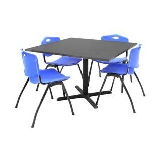 "42"" Square Table With Plastic Chairs   Gray Table / Blue Chairs   Outdoor And Patio Furniture Sets"
