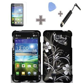 Rubberized Black White Silver Vine Flowers Snap on Design Case Hard Case Skin Cover Faceplate with Screen Protector, Case Opener and Stylus Pen for LG Escape P870   AT&T Cell Phones & Accessories