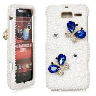 iSee Case Bling Crystal Diamond Rhinestone Hard Full Cover Case for Verizon Motorola Droid Razr M XT907 Razr i XT 890(XT907 3D Blue Butterfly White Pearl) Cell Phones & Accessories