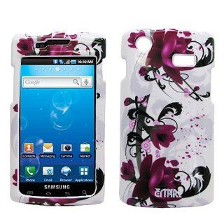White Purple Flower Hard Case Cover for Samsung Captivate SGH I897 Cell Phones & Accessories