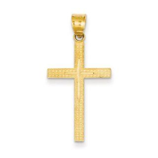14K Yellow Gold Diamond  Cut Latin Cross Pendant Jewelry