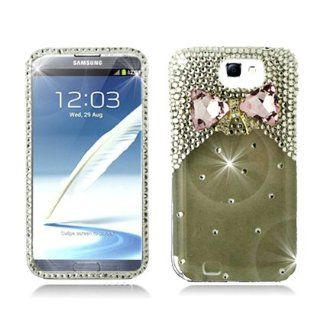 Aimo Wireless SAMNOTE2PC3D SD901 3D Premium Stylish Diamond Bling Case for Samsung Galaxy Note 2 N7100   Retail Packaging   Pink Bow Tie Cell Phones & Accessories