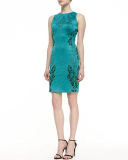 Womens Floral Cascade Jacquard Knit Sheath Dress with Cut In Shoulders   St.