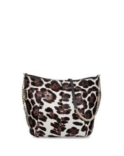 Anabel Leopard Print Calf Hair Crossbody Bag, Gray   Jimmy Choo