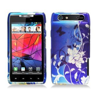 Popular 2D blue Flower & Butterfly Design Crystal Hard Skin Case Cover for Motorola XT912/ XT910 (Verizon) (2D image) Cell Phones & Accessories