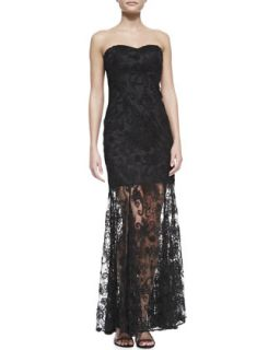Womens Strapless Lace Overlay Illusion Hem Gown, Black   Aidan by Aidan Mattox