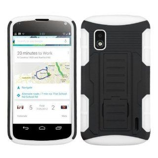MyBat ALGE960HPCSAAS912NP Advanced Rugged Armor Hybrid Combo Case with Kickstand for LG Nexus 4 E960   Retail Packaging   Black/White Cell Phones & Accessories