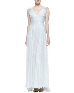 Womens Sleeveless Beaded Shoulder Burnout Gown, Mint White   Badgley Mischka