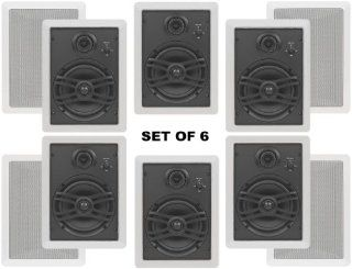 "Yamaha Flush Mount In Wall Natural Sound Custom Easy to install 3 Way 120 watts Speakers (Set of 6) with 1"" Silk Soft Swivel Dome Tweeter, 2"" Swivel Midrange & 6.5"" Cone Woofer for 1 Large Room or Several Smaller Rooms Electronics"