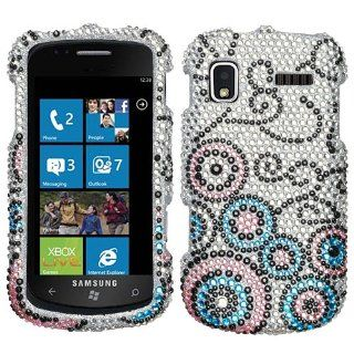 Silver Black Pink Blue Bubble Flow Full Diamond Bling Snap on Design Hard Case Faceplate for Samsung Focus I917 Cell Phones & Accessories