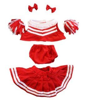 "Red and White Cheerleader Teddy Bear Clothes Outfit Fit 14""   18"" Build a bear, Vermont Teddy Bears, and Make Your Own Stuffed Animals Toys & Games"