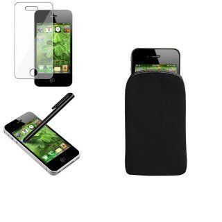CommonByte Stylus+SPT+Black Soft Pouch Skin Case Cover For iPhone 4 4G 4S Cell Phones & Accessories