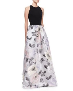 Womens Sleeveless Contrast Floral Skirt Gown, Black/Multicolor   David Meister