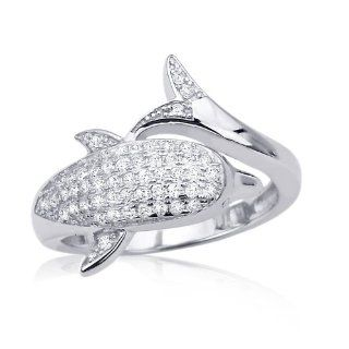 .925 Sterling Silver 14K White Gold Plated CZ Diamond Dolphin Engagement Ring For Women Jewelry