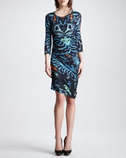 Womens Three Quarter Sleeve Print Jersey Dress, Teal/Multicolor   McQ