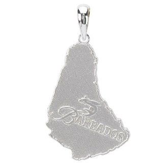 925 Sterling Silver Travel Necklace Charm Pendant, Barbados Map Textured Million Charms Jewelry