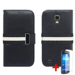 SAMSUNG GALAXY S4 ACTIVE I537 BLACK WHITE STRIPE LOCK FLIP COVER WALLET ID CASE + FREE CAR CHARGER from [ACCESSORY ARENA] Cell Phones & Accessories