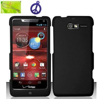 For Motorola Droid RAZR M 4G LTE XT907 Only Matte Black Hard Plastic Case Skin Cover Faceplate + Peace Charm and Strap Combo Cell Phones & Accessories
