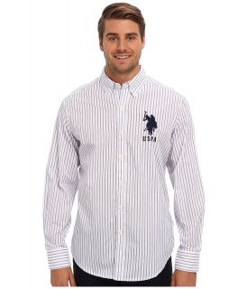 U.S. Polo Assn Vertical Stripe Long Sleeve Poplin Woven Shirt Mens Long Sleeve Button Up (Purple)