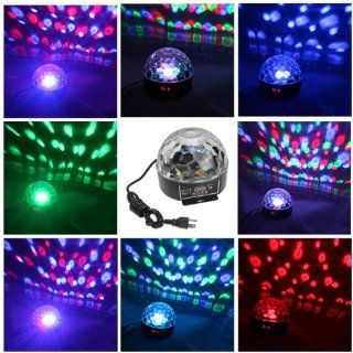 AGPtek Mini 20W DMX Voice activated RGB LED Crystal Magic Ball Effect light Disco DJ Stage Party Lighting   Disco Ball Lamps