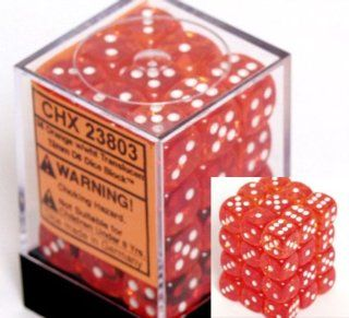 Chessex Dice d6 Sets Orange with White Translucent   12mm Six Sided Die (36) Block of Dice Toys & Games