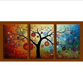 100% Hand Painted Oil Painting 3 Piece Wall Art Large Group Painting Colorful Tree Wall Art for Home Decoration  Gallery Wrapped Ready to Hang