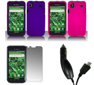 Samsung Vibrant T959 (Galaxy S) Combo Pack   Premium Rubberized Snap On Cover Cases (Purple, Hot Pink) + Screen Protector + Car Charger Cell Phones & Accessories