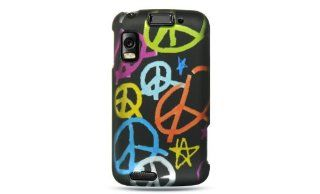 Premium   MOTOROLA ATRIX / MB860 CRYSTAL RUBBER CASE BLACK HAMDMADE PEACE SIGN   Faceplate   Case   Snap On   Perfect Fit Guaranteed Cell Phones & Accessories