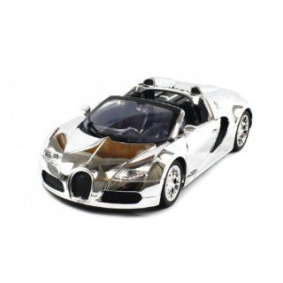 Diecast Bugatti Veyron Roadster Electric RC Car 118 Metal RTR (Chrome Edition) Toys & Games