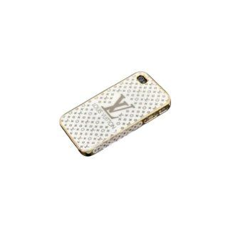 Fashion Luxury Designer LV Pattern Hard Back Cover Gold Frame Case for Iphone 4/4s (white) Cell Phones & Accessories