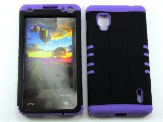 LG OPTIMUS G (CDMA) LS 970 NON SLIP BLACK HEAVY DUTY CASE + LIGHT PURPLE GEL SKIN SNAP ON PROTECTOR ACCESSORY Cell Phones & Accessories