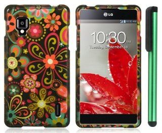 "LG Optimus G / Eclipse 4G LTE LS970   Green Daisy Flower on Black Premium Design Protector Hard Cover Case (Sprint) + Combination 1 of New Metal Stylus Touch Screen Pen (4"" Height, Random Color  Black, Silver, Hot Pink, Green, Light Green, Red, Blue,"