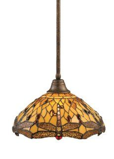 Toltec Lighting 26 BRZ 946 Stem Pendant Light Bronze Finish with Amber Dragonfly Tiffany Glass, 16 Inch   Ceiling Pendant Fixtures