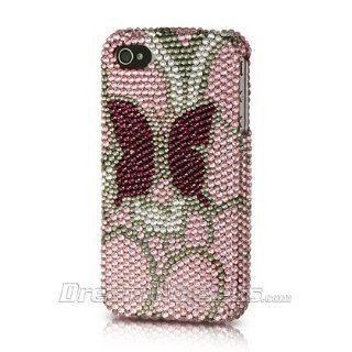 p2s88 Platinum Endless Sparkles Series Collection Pink with Burgundy Butterfly Handmade Full Diamond Rhinestone Snap on Hard Skin Cover Case for Apple iPhone 4 / 4S Cell Phones & Accessories