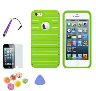 NEON GREEN Apple IPhone 5 Premium Design Hard Skin Case Value Combo Screen Protector   Remove Tool   Baseball Touch Pen   Ear Plug Cell Phones & Accessories