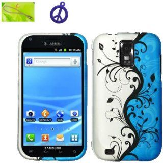 T Mobile Samsung Galaxy S II S2 SGH T989 (B BLVN) Black Vine Flower on Blue and Silver Design, Rubberized Coated Surface Hard Plastic Case Skin Cover Faceplate + Peace Charm and Strap Combo Cell Phones & Accessories