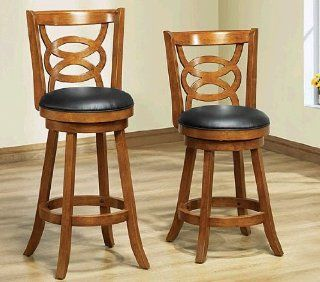 Monarch Specialties Solid Wood High Swivel Counter Stool, 39 Inch, Oak   Barstools