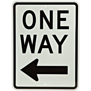 "Brady 94195 24"" Height, 18"" Width, B 959 Reflective Aluminum, Standard Traffic Sign, Legend ""One Way With Picto"" Industrial Warning Signs"