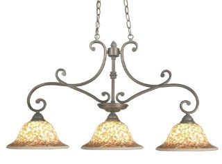 Dale Tiffany TH70741 3 Island Light Cassidy Island Light, Antique Brown and Mosaic Shade   Lighting Fixtures