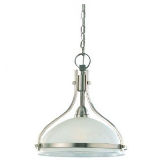 Sea Gull Lighting 65115 962 Single Light Eternity Pendant, Clear Highlighted Satin Etched Glass Shade, Brushed Nickel   Ceiling Pendant Fixtures