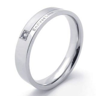 "KONOV Jewelry Classic Mens Womens Stainless Steel Promise Ring ""Endless Love"" Couples Wedding Bands KONOV Jewelry Jewelry"