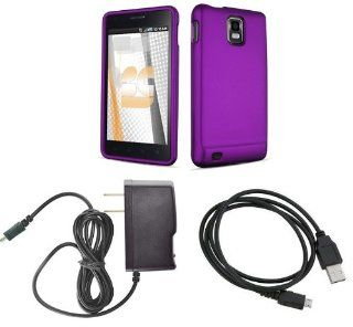 Samsung Infuse 4G   SGH i997   (AT&T) Premium Combo Pack   Purple Rubberized Shield Hard Case Cover + Atom LED Keychain Light + Micro USB Data Cable + Wall Charger Cell Phones & Accessories