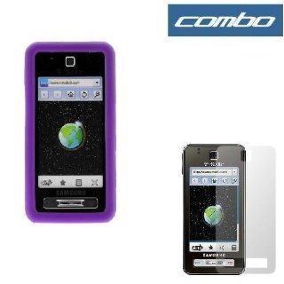 Dark Purple Rubber Silicone Skin Cover Case + Clear Reusable LCD Screen Protector for T Mobile Samsung Behold T919 Cell Phone Cell Phones & Accessories