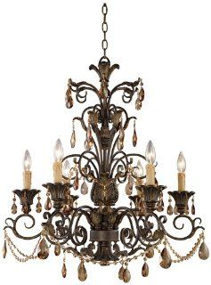 ELK Lighting 3344/6 Six Light Chandelier from the Rochelle Collection, Weathered Mahogany Ironwork